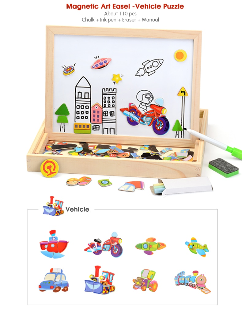 Kid's Magnetic Wooden Puzzle 100 Pcs